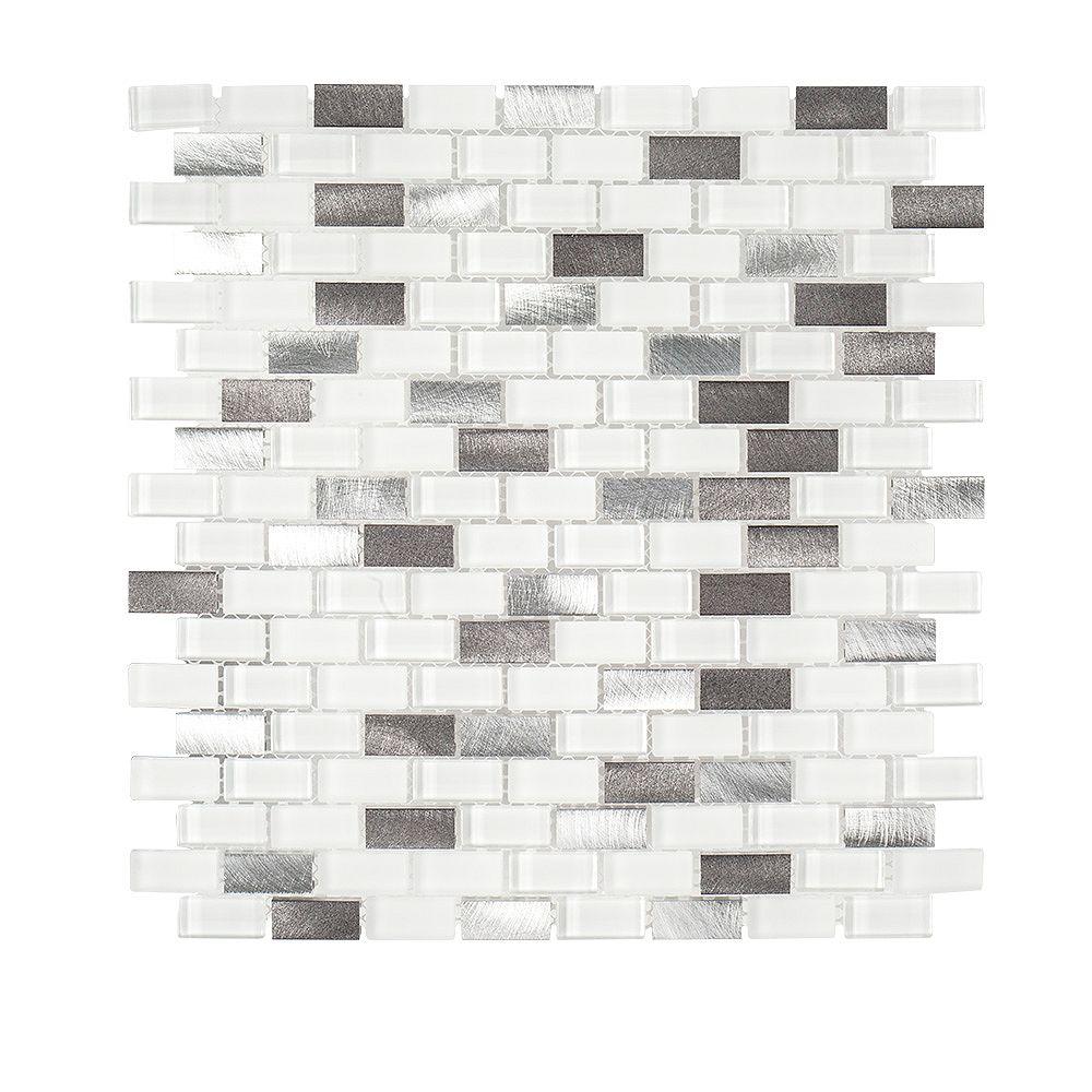 Jeffrey Court Feuille de mosaïque de verre, pierre et métal 6 mm, 12 po x 12 po, Arctic Thunder