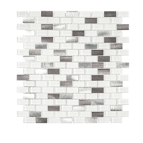 Arctic Thunder 10.625-inch x 12-inch x 6mm Glass/Stone/Metal Mosaic Tile