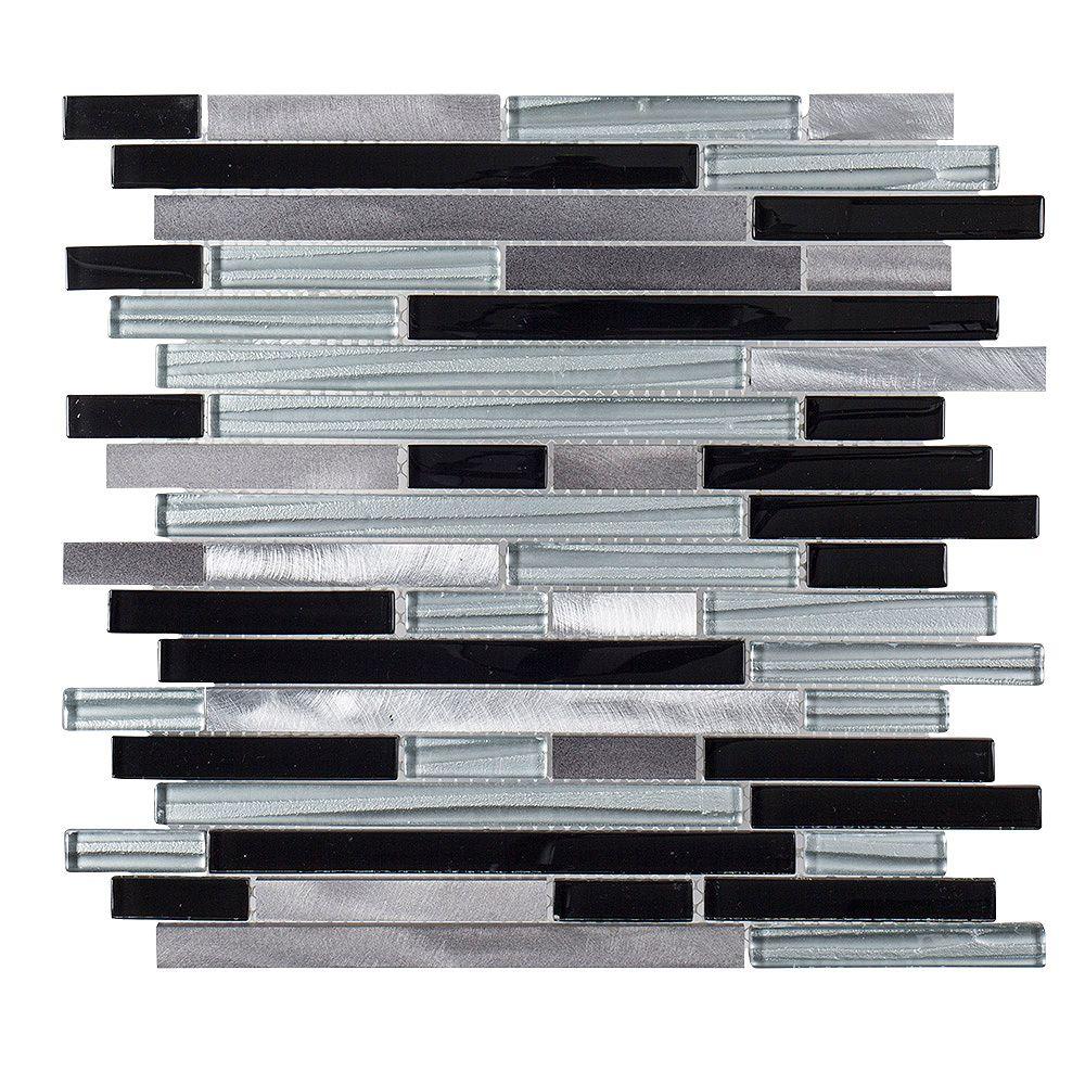 Jeffrey Court Binaire Code 11.625 po x 11.75 po x 6mm verre/metal mosaique