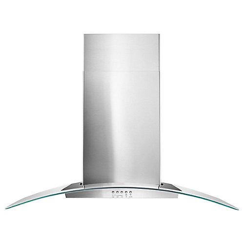 36-inch Modern Glass Wall Mount Range Hood in Stainless Steel