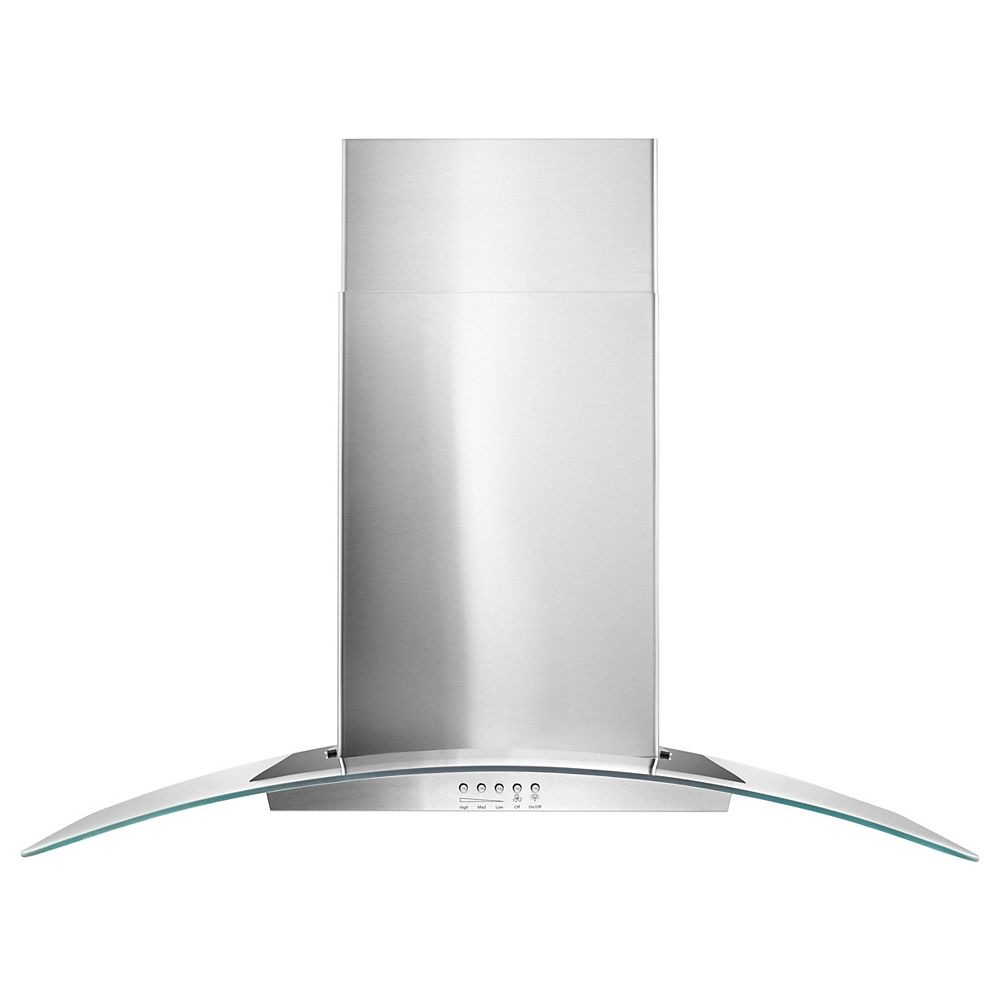 Whirlpool 36-inch Modern Glass Wall Mount Range Hood in Stainless Steel