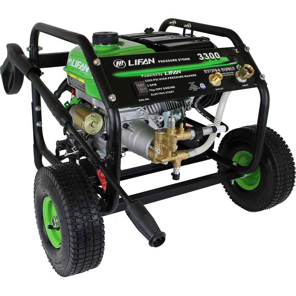 LIFAN 3300 PSI 2.5 GPM AR Axial Cam Pump Electric Start Gas Pressure Washer with Panel Mounted Controls