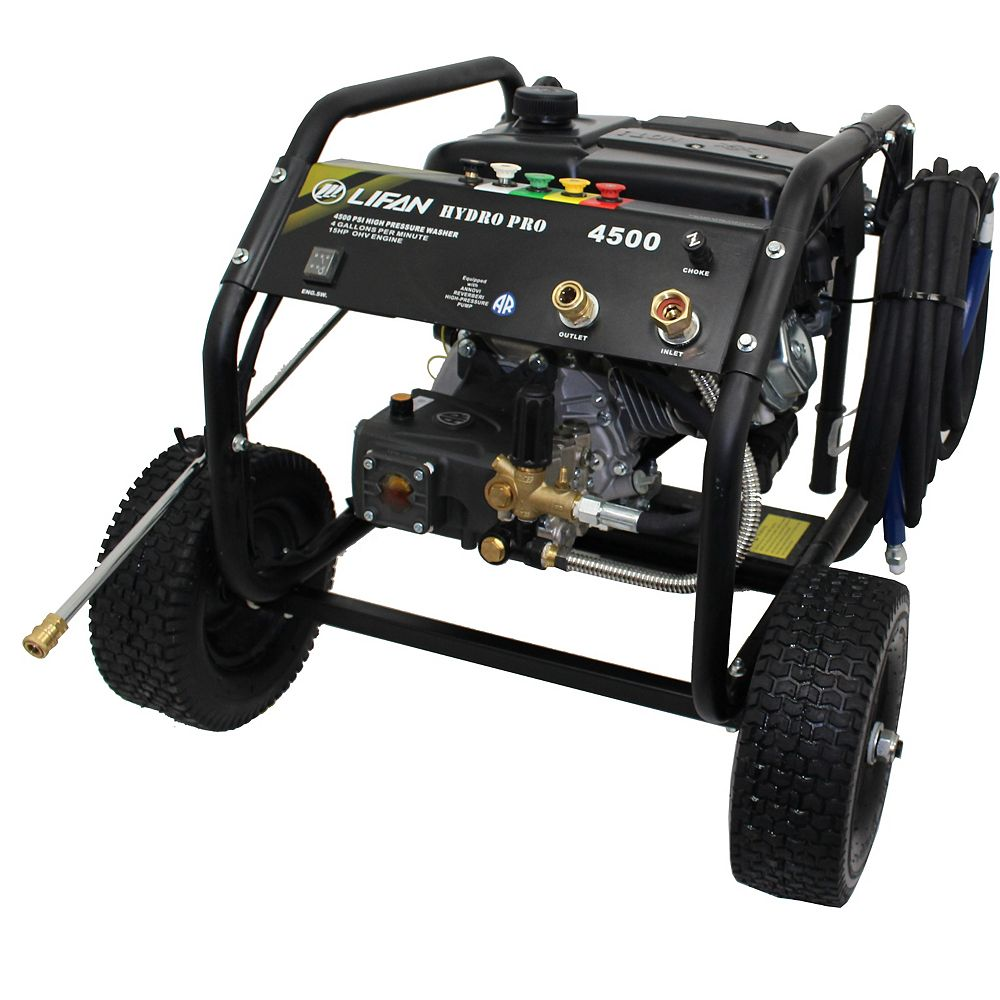 LIFAN 4500 PSI 4.0 GPM Gas Pressure Washer with Annovi Reverberi Tri-Plex RRV Pump and Panel Mounted Controls