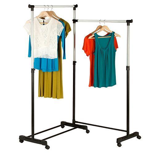 Honey-Can-Do 63.5-inch W x 16.93 D x 63-inch H Adjustable Dual Bar Corner Steel Garment Rack, Wheeled in Chrome