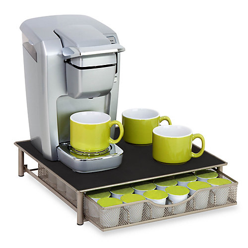 Single-Serve Coffee Brewer Stand with Pod Drawer