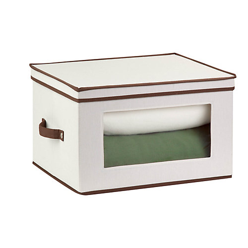 Dinnerware Storage Box,  17 Inch  x 13.5 Inch  x 10.5 Inch Light Canvas - goblet style wine glasses