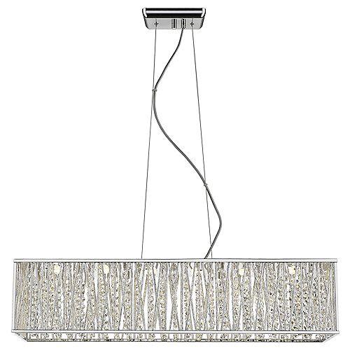 Luminaire suspendu Saynsberry, chromé, DEL intégrée, équivalence 33W, ornementé de cristal
