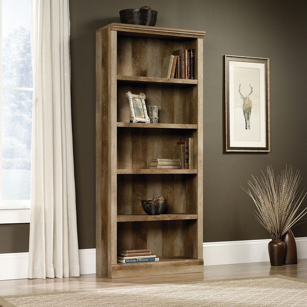 Sauder Bibliothèque East Canyon à cinq tablettes en chêne artisanal