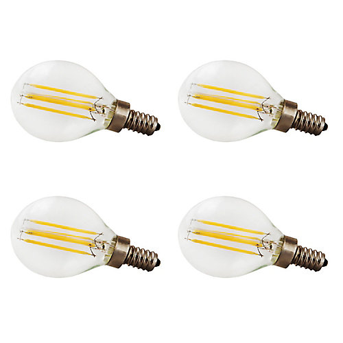 40W Equivalent Clear Filament 2700K G12.5 Candlelabra Base E12 400LM CRI90 Dimmable LED Light Bulb (4-Pack)