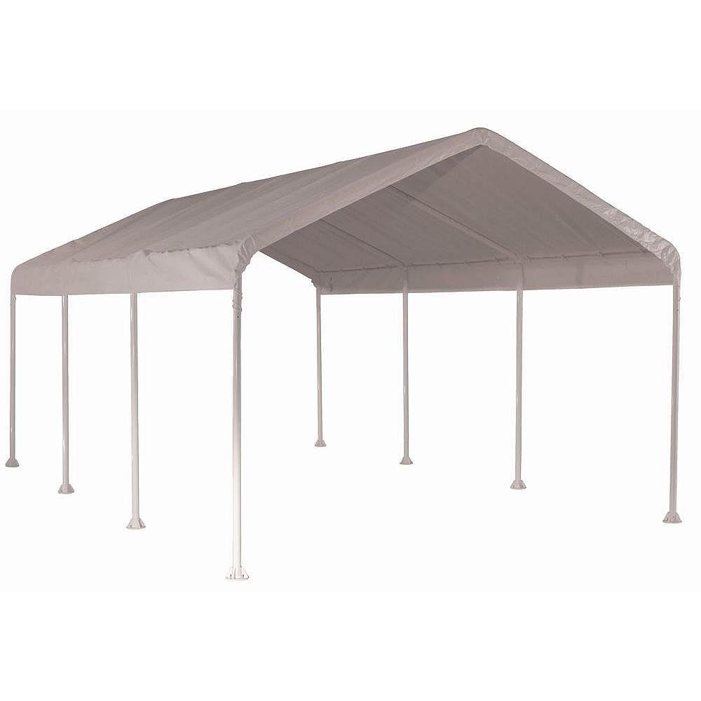 ShelterLogic Auvent Max AP 3 m x 6 m haute résistance à 4 poutrelles avec couverture polyéthylène blanche