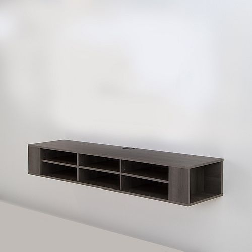 City Life 66-inch Wide Wall Mounted Media Console in Grey Maple
