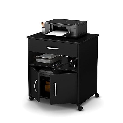 Rangement à imprimante sur roulettes, Noir solide, collection Axess