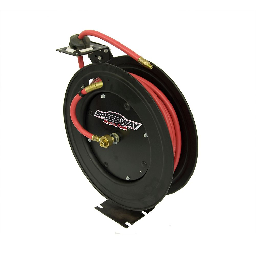 Speedway Retractable Air Hose Reel with 3/8-inch by 50 ft. Hose