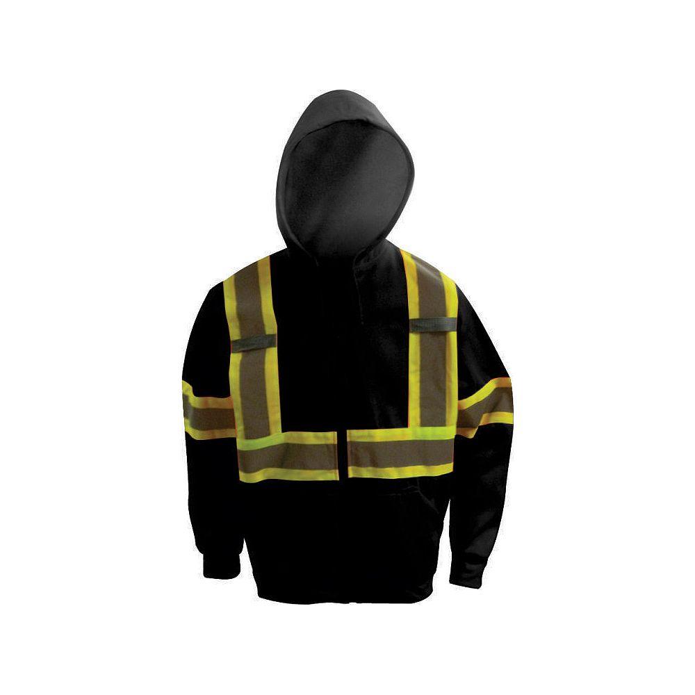 Workhorse Chandail noir à capuchon, taille TTG
