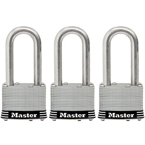 Master Lock Cadenas en acier inoxydable laminé de 44mm (13/4po) de largeur, paquet de3