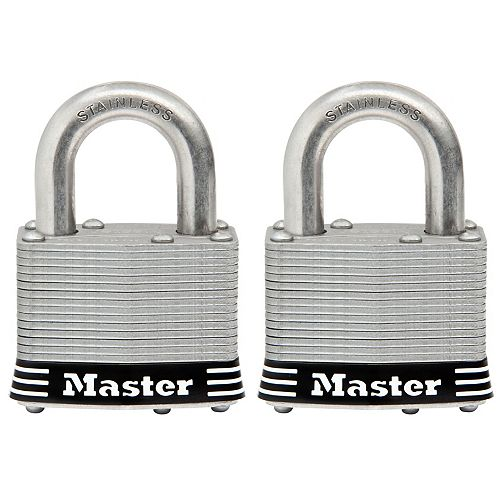 Master Lock Cadenas en acier inoxydable laminé de 51mm (2po) de largeur avec gorge à goupilles, paquet de 2