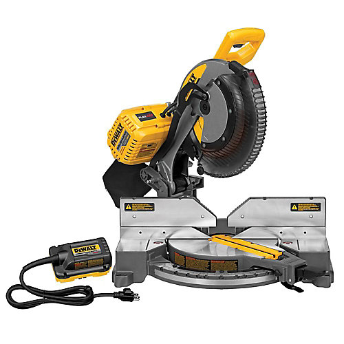 FLEXVOLT 120V MAX Li-Ion Cordless Brushless 12-inch Compound Mitre Saw with AC Adapter (Tool-Only)