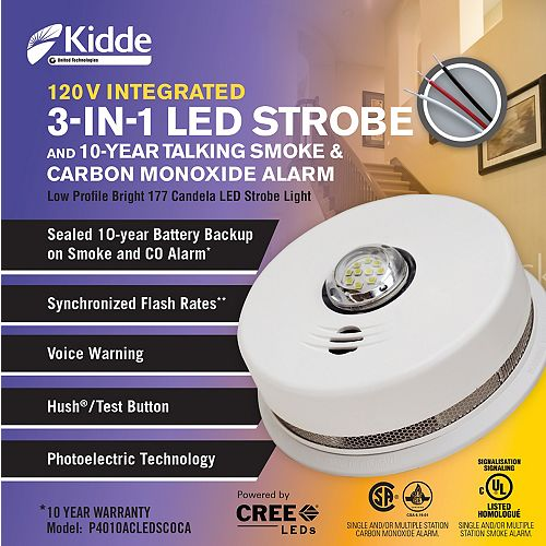 3 in1 Strobe/ Smoke and Carbon Monoxide Alarm - hardwire with 10yr BBU
