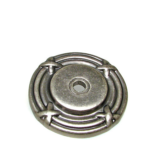 Traditional Metal Rosette for Knob 1 1/2 in (38 mm) Dia - Pewter - Châteauguay Collection