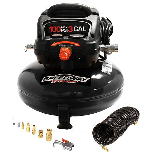 3 gal pancake compressor Oil free-Includes. 25' PU recoil hose & inflation kit