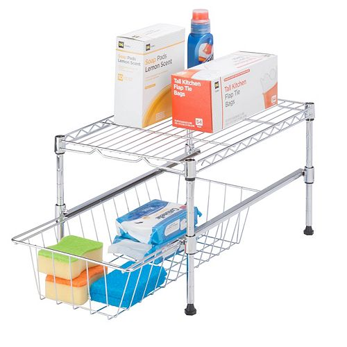 Honey-Can-Do 11-inch H x 12-inch W x 18-inch D Adjustable Steel Shelf with Basket Cabinet Organizer in Chrome