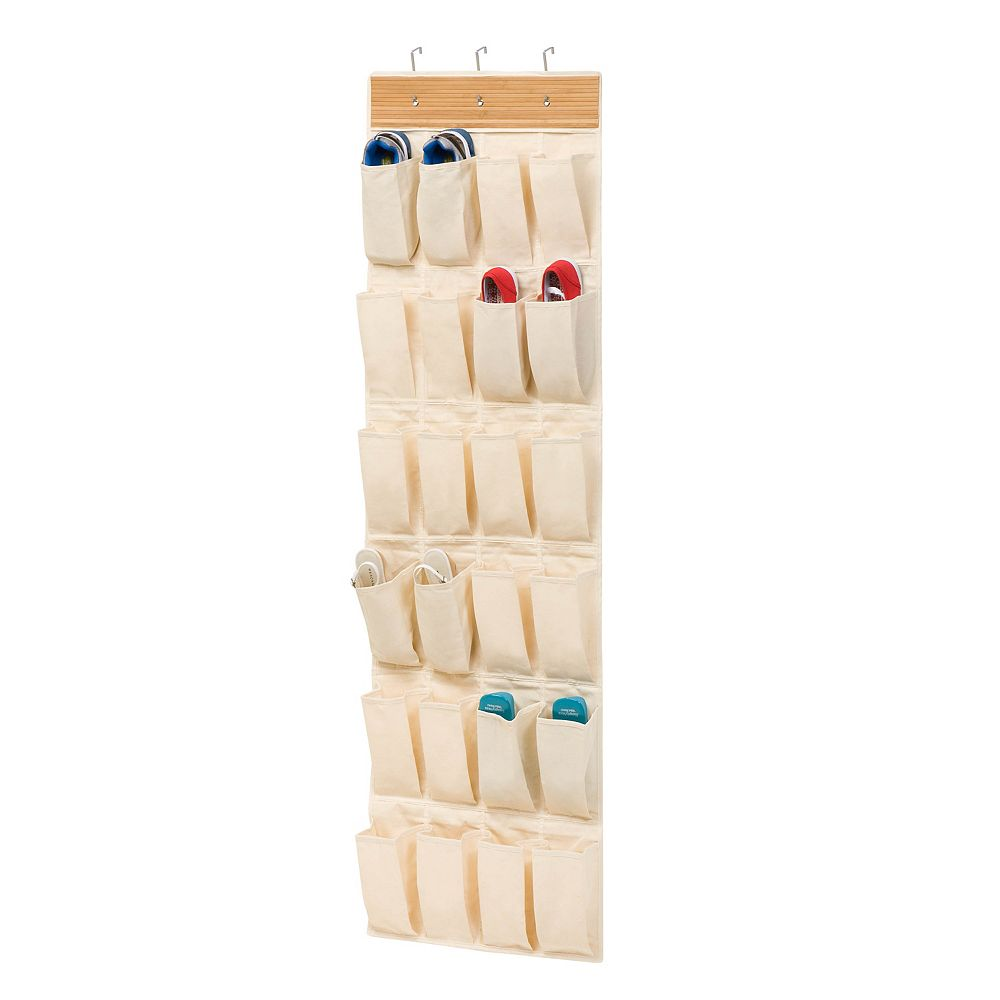 Honey-Can-Do Over-the-Door 24-Pocket Shoe Organizer in Bamboo