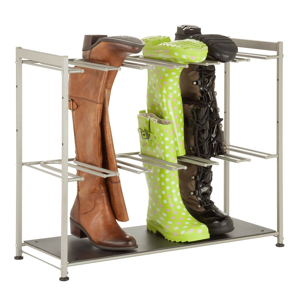 Honey-Can-Do 27.5-inch x 22.5-inch x 10.75-inch 6-Pair Boot Rack in Silver