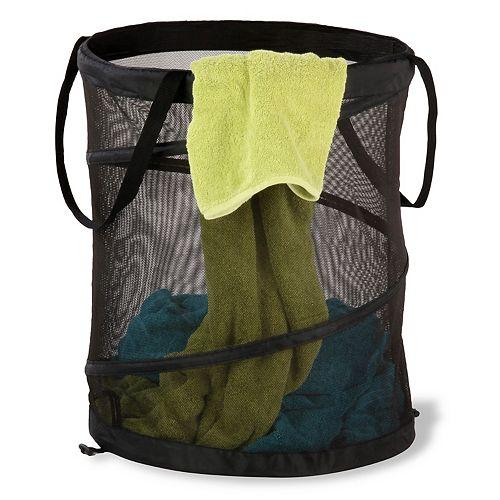 Large Mesh Pop-Open Laundry Hamper in Black