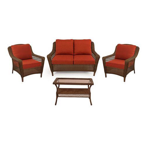 Spring Haven Brown Wicker 4-Piece Set with Orange Cushion