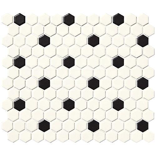 Carreau de mosaïque, porcelaine hexagonale, 10po x 12po x 6mm, blanc satiné, 9,09pi2/boîte