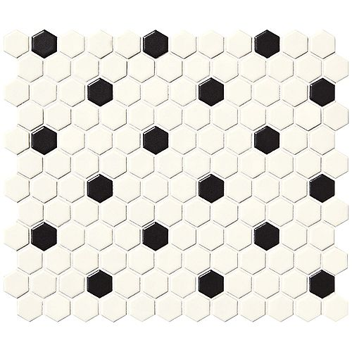 Finesse Satin White with Black Dot 10-inch x 12-inch x 6 mm Glazed Porcelain Hexagon Mosaic Wall Tile (9.09 Sq. Feet. / Case)