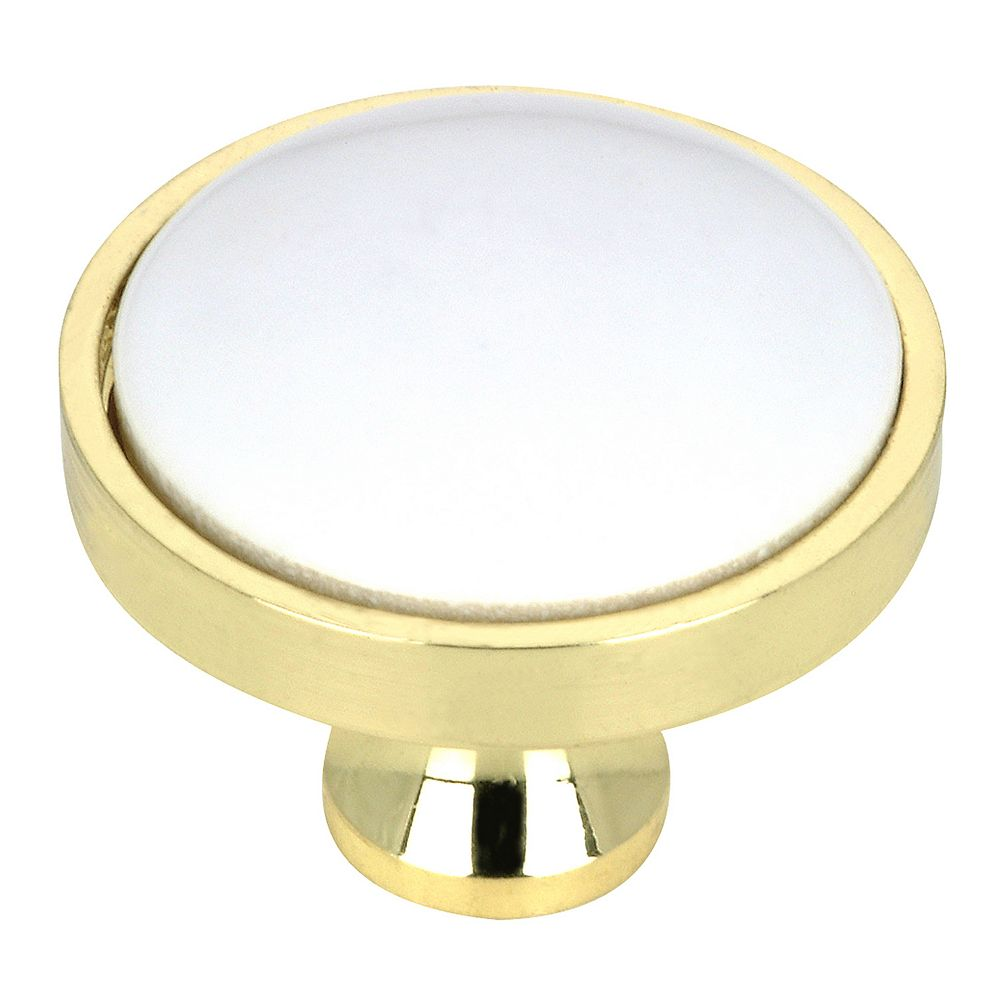 Richelieu 1 1/4 in (32 mm) Brass, White Eclectic Cabinet Knob