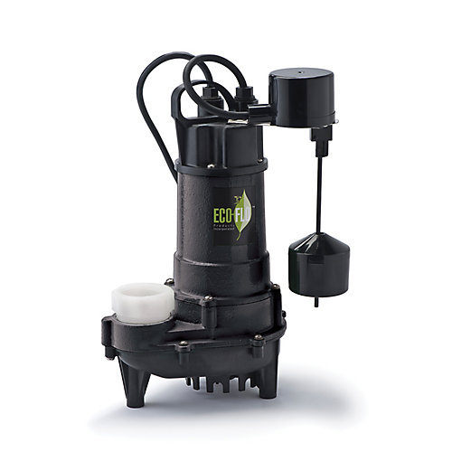 Sump Pump, Submersible, 3/4HP, CI, Vertical Sw