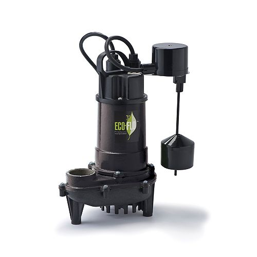 Sump Pump, Submersible, 1/2HP, CI, Vertical Sw