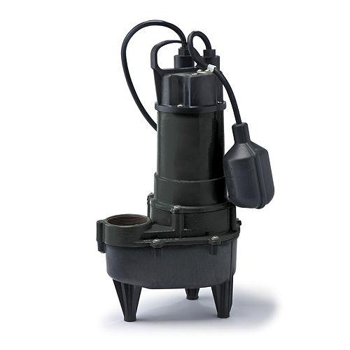 Sewage Pump, 4/10HP, CI/PL, 5700 GPH, Teth Sw