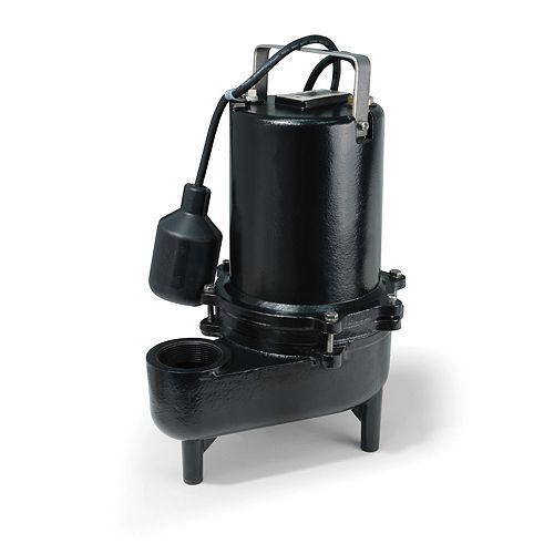 Sewage Pump, 1/2HP, PRO CI, 7800 GPH, Teth Sw