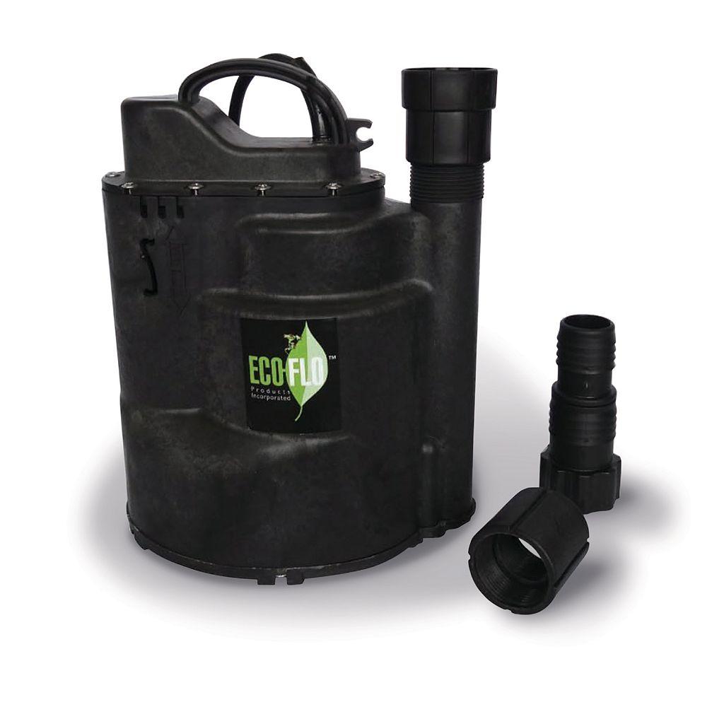 ECOFLO Pompe utilitaire submersible de 1/3 HP, interrupteur automatique