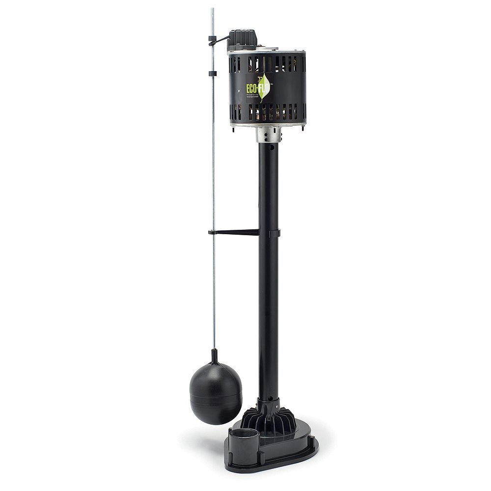 ECOFLO Sump Pump, Pedestal, 1/3HP, Thermoplastic