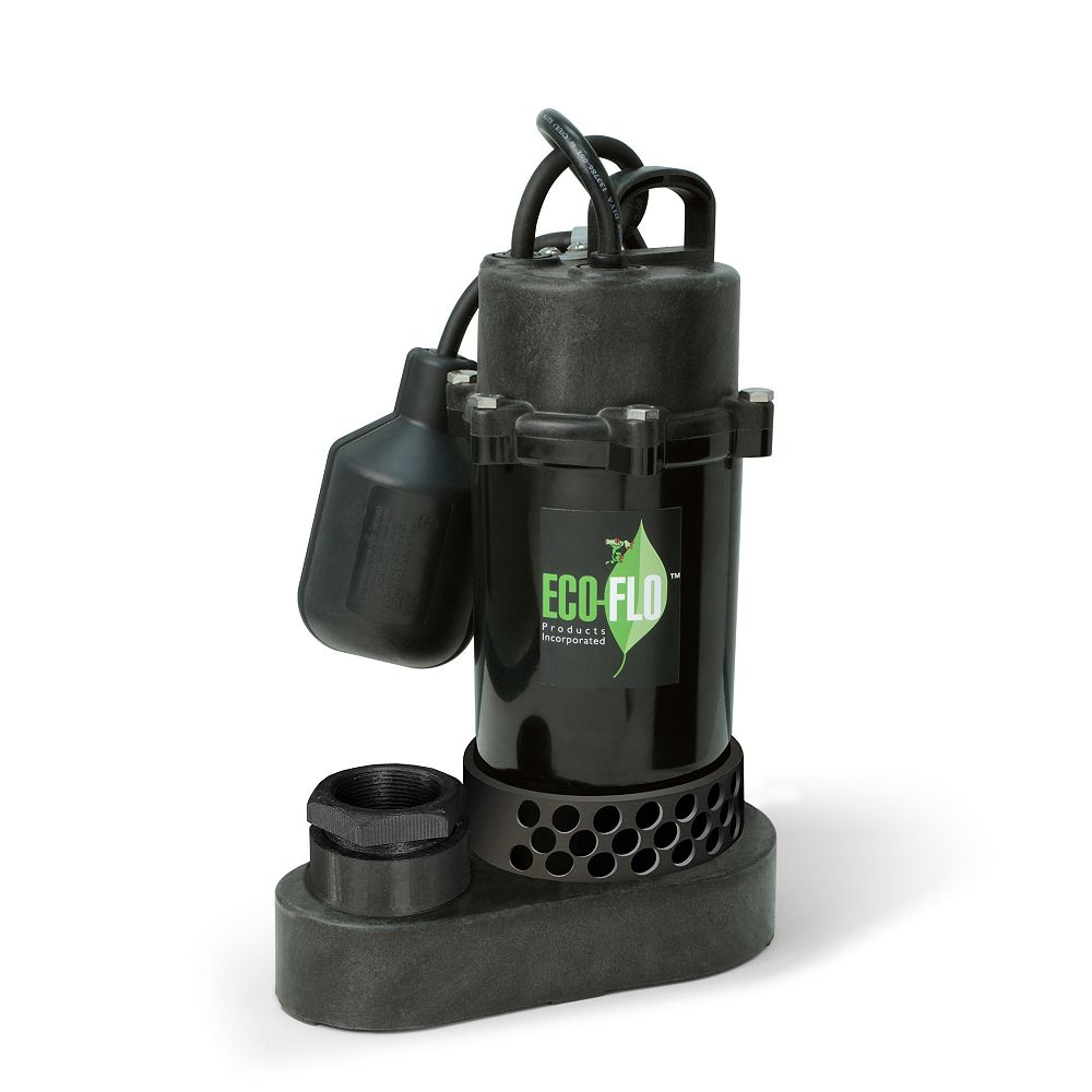 ECOFLO Sump Pump, Submersible, 1/3HP, PL, Tethered Sw