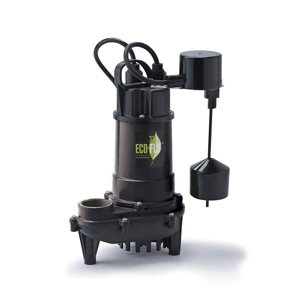 ECOFLO Pompe de puisard submersible, 1/3 HP, fonte, interrupteur à flotteur vertical