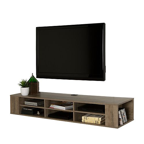 City Life 66 Inch Wall Mounted Media Console, Weathered Oak