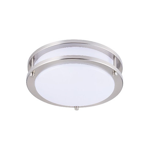 10-inch Integrated Neutral White 4000K Dimmable LED Flush Mount Light Fixture Brush Nickel