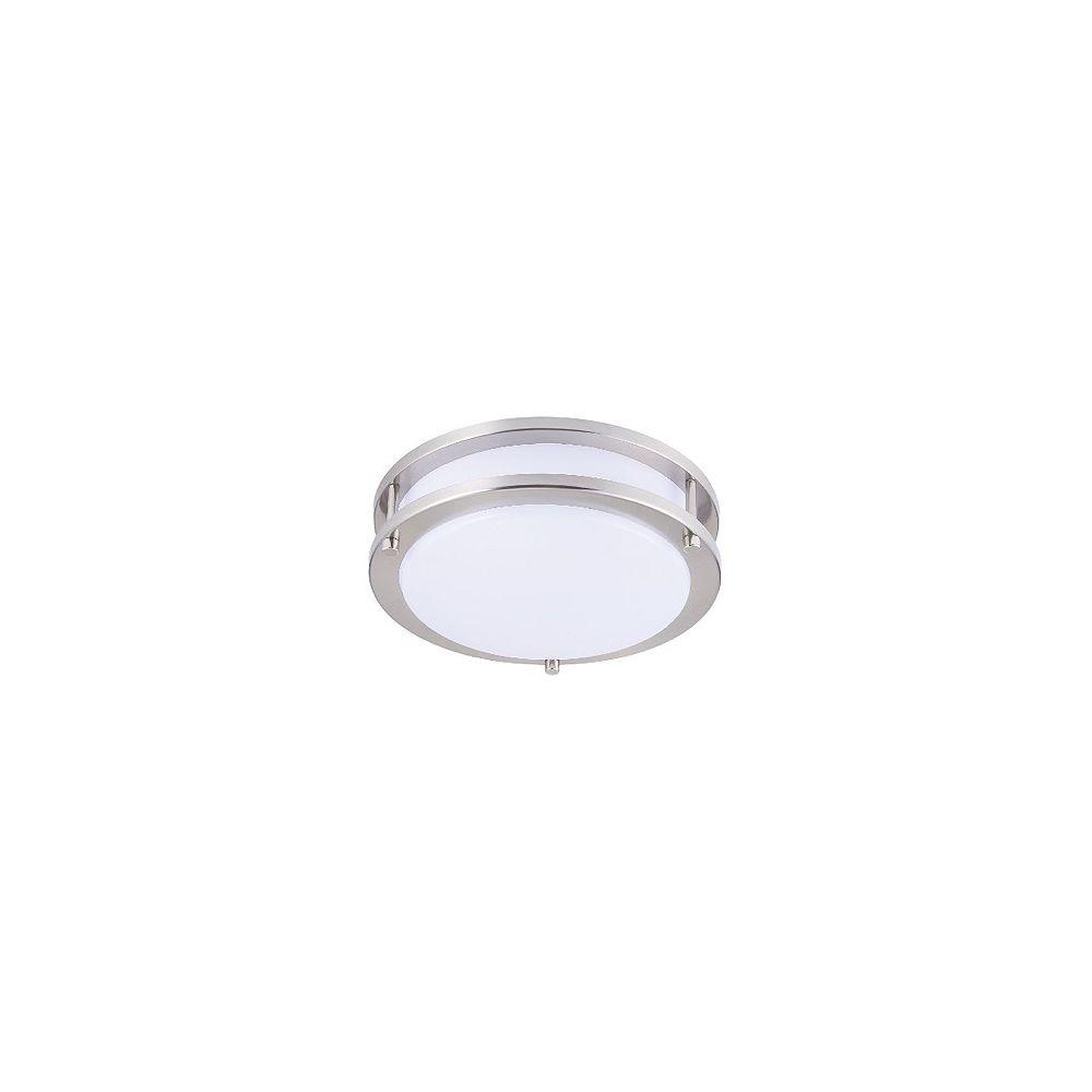 Strak LED 10-inch Integrated Neutral White 4000K Dimmable LED Flush Mount Light Fixture Brush Nickel