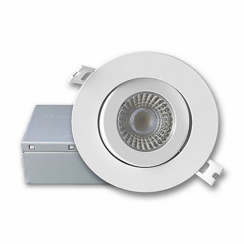 4-inch Integrated Cool White 5000K Dimmable LED Gimbal trim Recessed Light Kit in White with Junction Box - ENERGY STAR