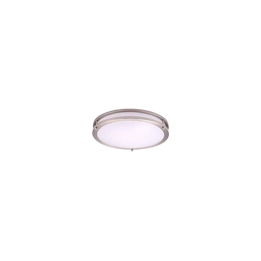 Strak LED 16 inch FlushMount Fixture 16W = 160W Brush Nickel 1600LM 6000K Dimmable ES - ENERGY STAR®