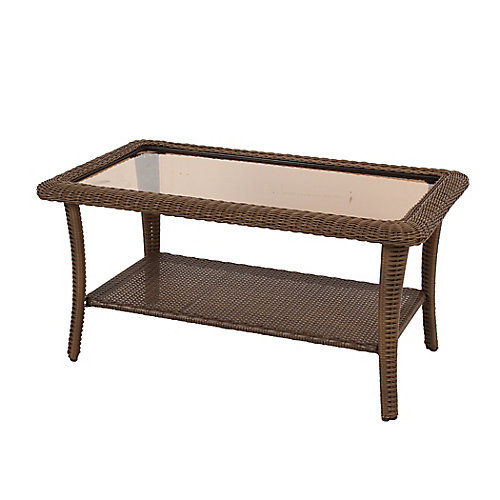 Table basse rectangulaire Spring Haven en osier brun