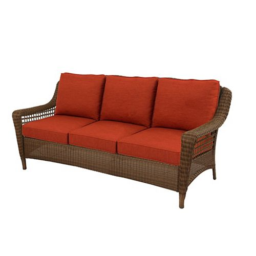 Spring Haven Brown All-Weather Wicker Outdoor Patio Sofa with Sky Orange Cushions