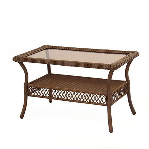 Spring Haven Brown All-Weather Wicker Outdoor Patio Coffee Table