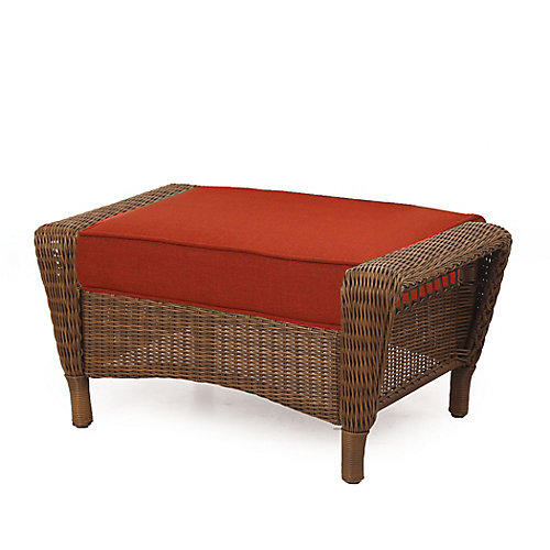 Spring Haven Brown All-Weather Wicker Outdoor Patio Ottoman with Sky Blue Cushion