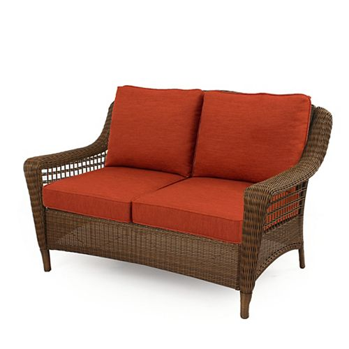 Spring Haven Brown All-Weather Wicker Outdoor Patio Loveseat with Orange Cushions